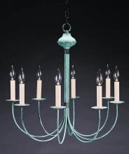 Northeast Lantern 908-AB-LT8 - Hanging J-Arms Antique Brass 8 Candelabra Sockets