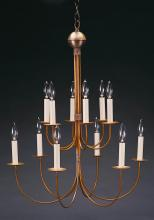 Northeast Lantern 912-AB-LT12 - Hanging 2 Tier J-Arms Antique Brass 12 Candelabra Sockets
