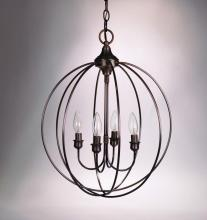 Northeast Lantern CH904-AB-LT4 - Hanging Circle Chandelier Antique Brass 4 Candelabra Sockets